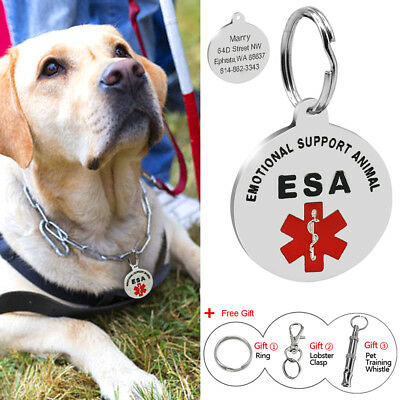 Emotional Support Animal Pet ID Tags Dog Cat Medical Tags Pet Tags Free Whistle