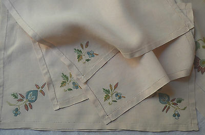 Pure linen coloured silk embroidered table cloth, 8 napkins, 2 tray cloth,unused