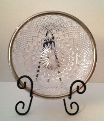 FB Rogers Silver Co Clear Cut Crystal Bowl with Silver Plate Rim and Metal Stand