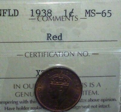 1938 Canada NEWFOUNDLAND Small Cent KM# 18 UNCIRCULATED  ICCS GRADED 65 RED