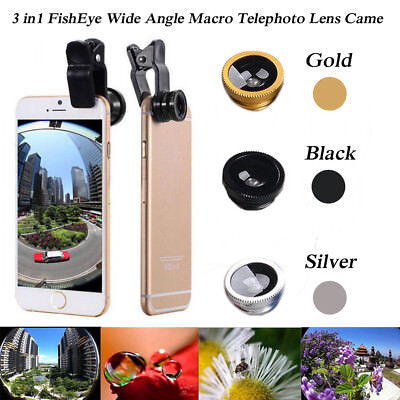 3 in1 Mobile Phone Camera Lens Set Fish Eye Wide Angle Macro Clip  US