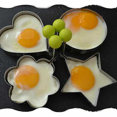 Stainless Steel Fried Egg Rings Pancake Sandwich Cutter Cooking Mold with Handle