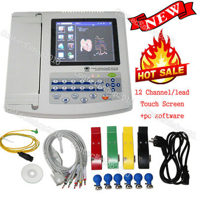 Digtial 12 channel/lead ECG/EKG Electrocardiograph, touch screen+pc sw, FDA CE