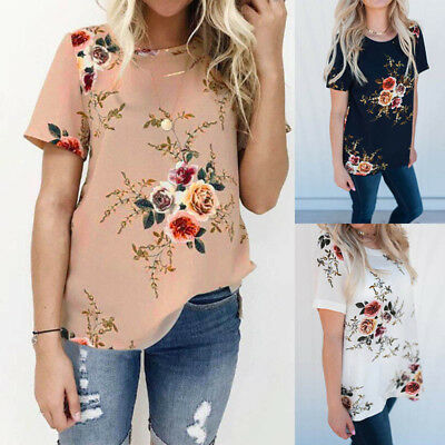 UK 8-24 ZANZEA Women Summer Floral Short Sleeve T-shirt Blouse Tee Tops Pullover