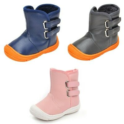 Baby Boys Girls PU Leather Snow Boots Shoes Toddler Infant Winter Warm Sneakers