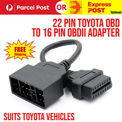 22 Pin To 16 Pin Female OBD 2 obdii obd2 Connector Adapter Cable for Toyota AU
