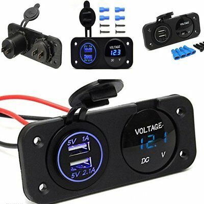 12V Dual USB Charger Adapter Blue LED Voltmeter Panel Waterproof fits Car Boat K