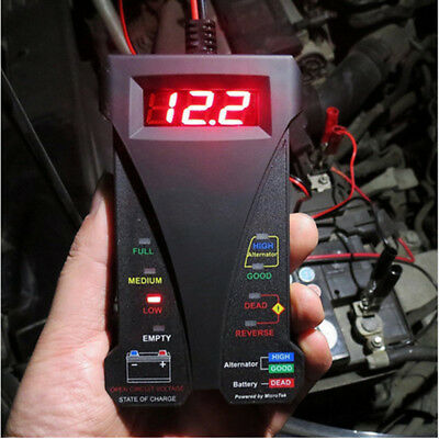 12V Digital Battery Alternator Tester LED Display Volt Check For Motorcycle FK