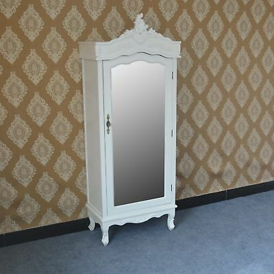 French White Chateau Shabby Chic Mirrored Single Door Armoire Wardrobe SECONDS