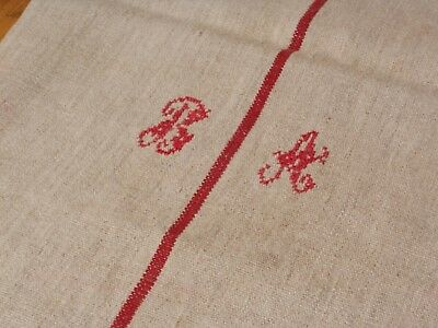 Antique European Feed Sack GRAIN SACK BA Monogram # 10473