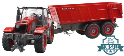 Radio Remote Control 6CH Front Loader Farm Tractor Digger Red Bucket RC RTR Red