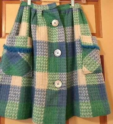 Vintage 1950's Rockabilly Plaid Full Skirt EXTRA SMALL Cutest ever!