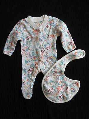 Baby clothes GIRL premature/tiny7.4lb/3k M&S cream floral babygrow/bib SEE SHOP