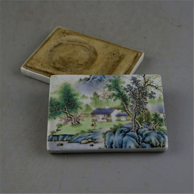 Chinese Old Famille Rose Colored Landscape Pattern Porcelain Inkpad Box
