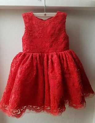 2T 3t Toddler Baby Girls Special Occasion Dress Red Tulle Lace Big Bow