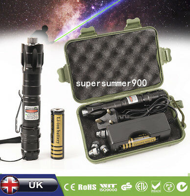 Green Laser Pointer Pen Flashlight Torch Demo Remote 5 Caps Battery Charger