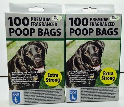 200 DOGGY BAGS - *EXTRA STRONG PREMIUM FRAGRANCED* Scented Pet Bag Dog Cat Poo