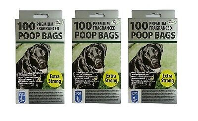 300 DOGGY BAGS - *EXTRA STRONG PREMIUM FRAGRANCED* Scented Pet Bag Dog Cat Poo