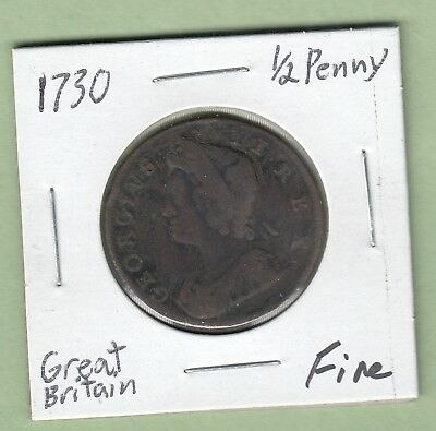 1730 Great Britain 1/2 Penny Coin - George II - Fine