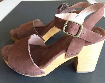 "dc6dc7f8db4 Madewell Strappy Leather Brown Sandals 9.5 Open Toe 4"" Heel Double Straps"