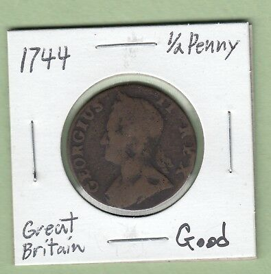 1744 Great Britain 1/2 Penny Coin - George II - Good