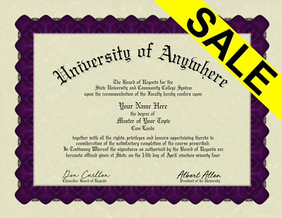 Fake Bordered University College Diploma Novelty Gag