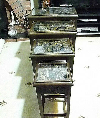 Nest of 4 Antique Vintage Wood Hand Carved Chinese Nest of Tables, Glass Topped