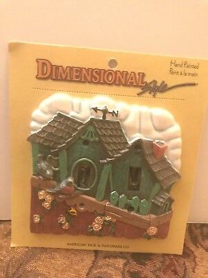 Hand Painted House w/Birds American Tack & Hardware Co. Double Switch Plate
