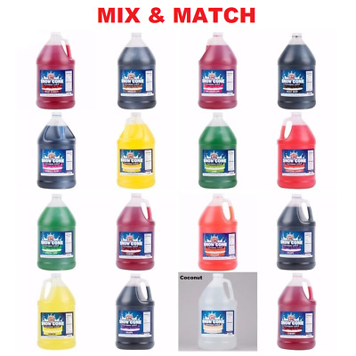 8 Pack Commercial Snow Cone Shaved Ice 1 Gallon Syrup - Mix & Match Flavors (20)