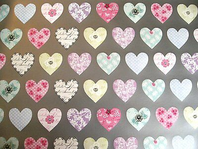 2 Sheets Pastel Heart Silver Background Wrapping Paper Mothers Day Engagement