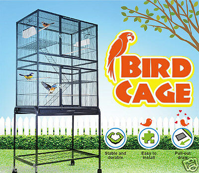Large Stand-Alone cage Parrot Aviary Budgie Canary Bird Cocky on Wheels NEW