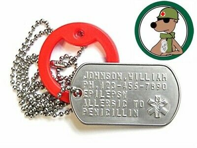 Medical Alert Tag Stainless Steel With Long Chain & Red Silencer Custom Text