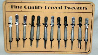 12 Vintage WIGDER Tweezers on Original Cards, watchmaker Jeweler Embroidery etc.