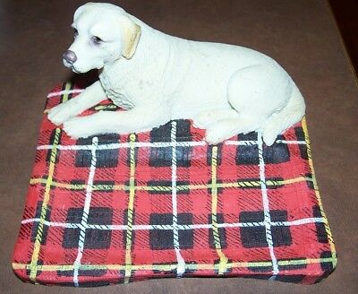 Yellow Lab Soap Dish Labrador Resin  Red Plaid New