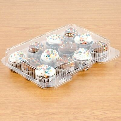 12-Compartment Container Mini Cupcake Muffin Clear OPS Hinged, 20/Pack