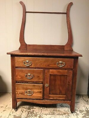 Antique Solid Oak Washstand Dry Sink Cabinet with Towel Rack
