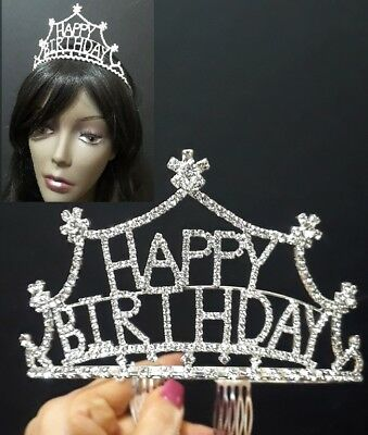 Happy Birthday Tiara Wedding Bridal Crown Headband Rhinestone Crystal Prom Party