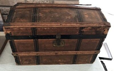Paper/wood Antique Steamer Dome TopDollhouse Trunk Chest Strapped 19th Century