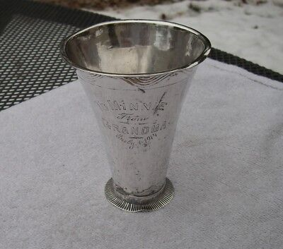 Early 18th Century SWEDISH Silver Small CONICAL BEAKER-20th C Engraving-AS IS-NR
