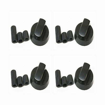 Qty x 4 Black Universal Stove / Oven Knobs with 3 D Shaft Inserts