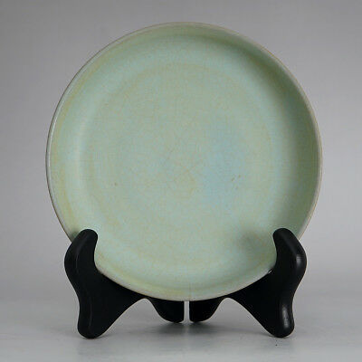 Rare Chinese Porcelain Plate Light Blue Reminiscent Cracks Great Collection
