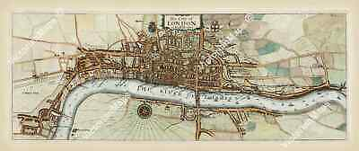 antique old map plan London Q Elizabeth time Stow / Strype 1720 art poster print