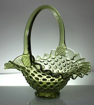 Vintage Fenton Green opalescent hobnail pattern glass flower Ruffled basket