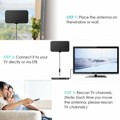 Flat Indoor HD Signal  Digital TV Antenna HDTV 50 Miles Range VHF UHF Useful