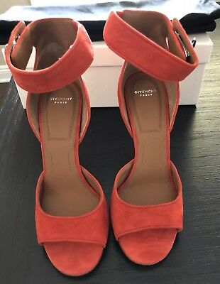 582a0efe29b18 NEW GIVENCHY SHARK Lock Red Suede Strappy Sandal Pump Stiletto Heels Size  38 8