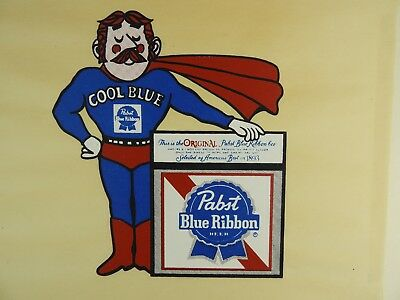 Vintage PBR Pabst Cool Blue Test Print T-Shirt Store Display Pellon cloth 1980's