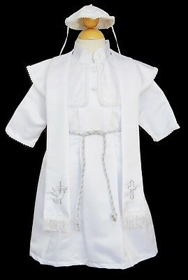 Boys Infant Toddler Christening Baptism White Gown Set, SIze: X-Small to 4T