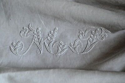 antique French pure linen fil pillow case, hand embroidered MT monogram