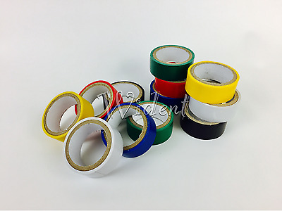 """12 Rolls Colored Electrical Tape 3/4"""" in x 6.6ft PVC Insulation"""