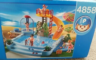 Playmobil Splash Pool Play Set Swimming Pool With Slide U0026 Shower Set 4858